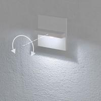 Faro da incasso a parete, segnapasso led bianco freddo, 3 W, colore bianco, orientabile, uso esterno