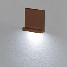 Faro da incasso a parete, segnapasso led bianco freddo, 3 W, color ruggine, uso esterno