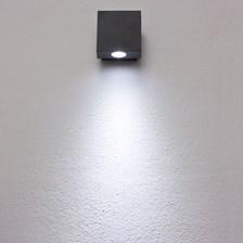 Lampada da parete, applique LED bianco freddo, 1W, colore grafite, uso esterno