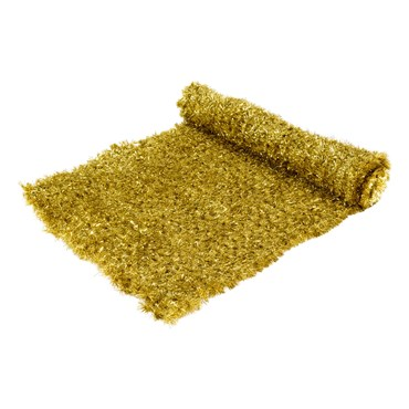 Tapis en pin artificiel or métallique professionnel h. 1 x 5m, maille 5 x 5 cm, utilisation intérieure
