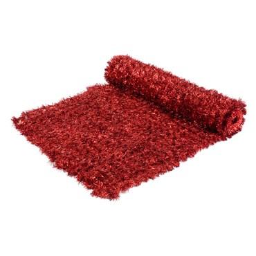 Tapis en pin artificiel rouge métallique professionnel h. 1 x 5m, maille 5 x 5 cm, utilisation intérieure