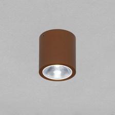 Faro tondo da soffitto, 7 Watt, led bianco freddo, color ruggine, uso esterno