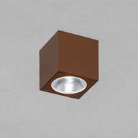 Faro quadrato da soffitto, 7 Watt, led bianco freddo, color ruggine, uso esterno