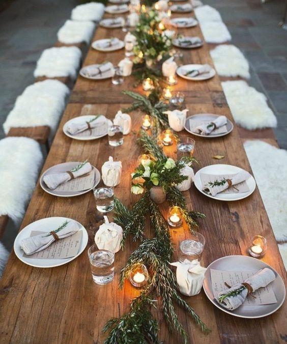 Bougies et plante aromatiques pour un mariage ecolo