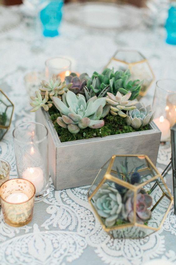 centre de table avec des petites succulentes plantes dans des pots geometriques