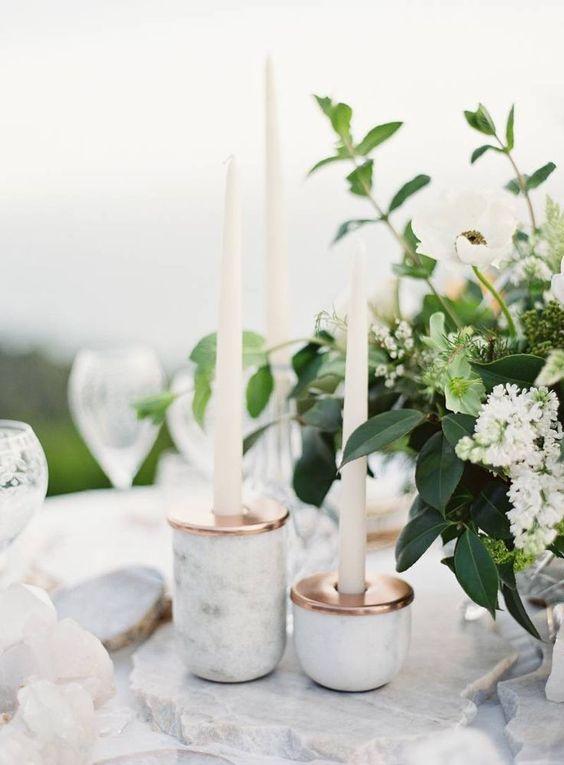 decorations centre de table cuivre et marbre