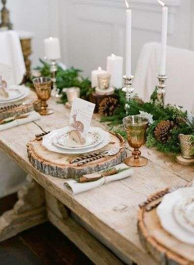 Centre de table pour un mariage en hiver