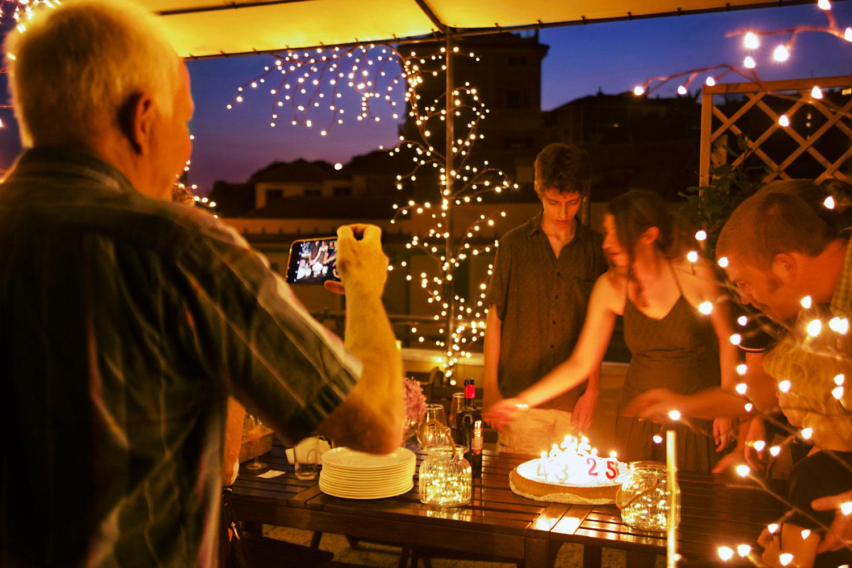 terrazzo illuminato per festa