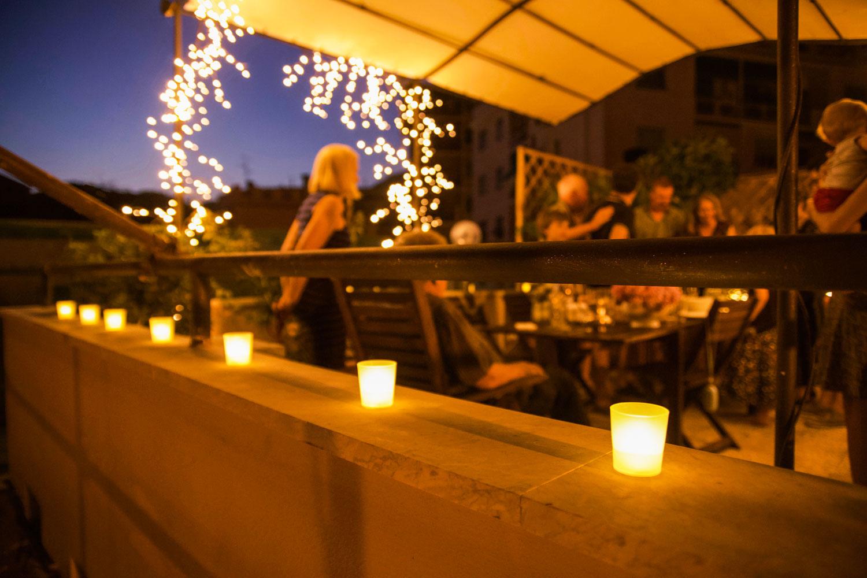 terrazzo illuminato per festa compleanno