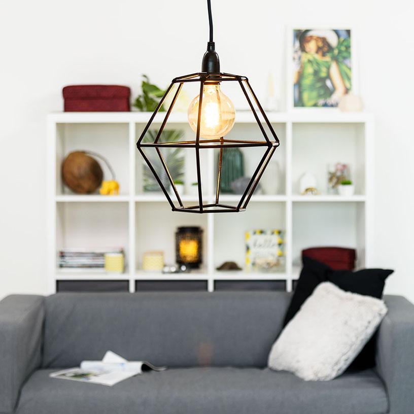 Pantalla lámpara geométrica cañitas DIY