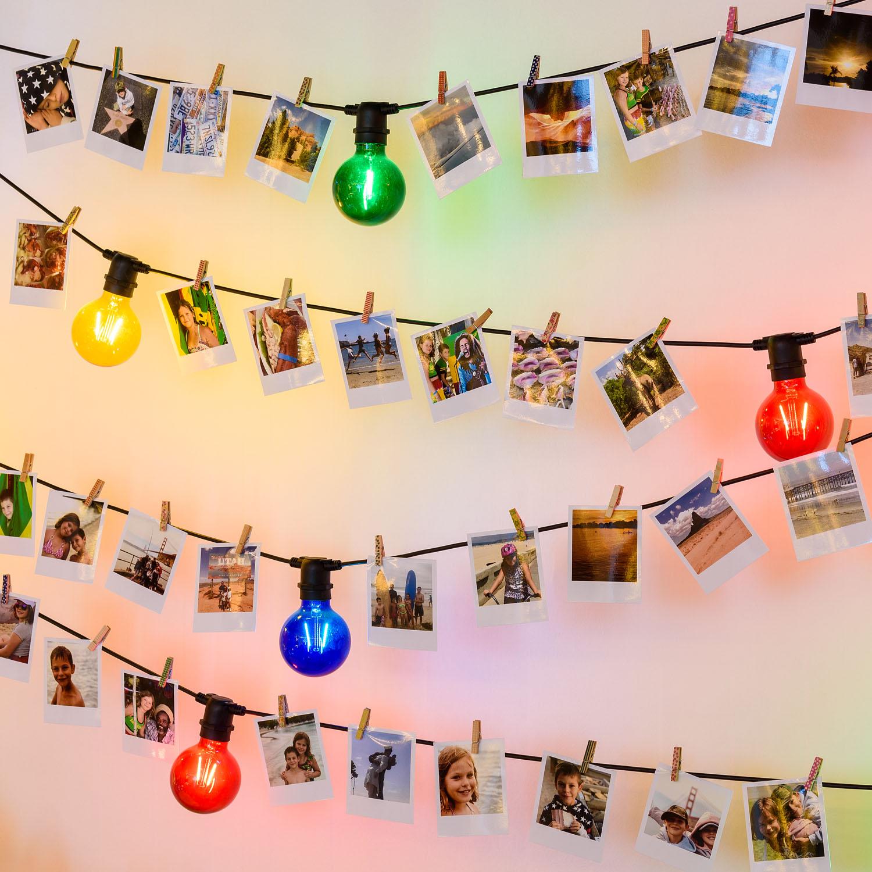 portafotos de pared guirnalda de luces bombillase