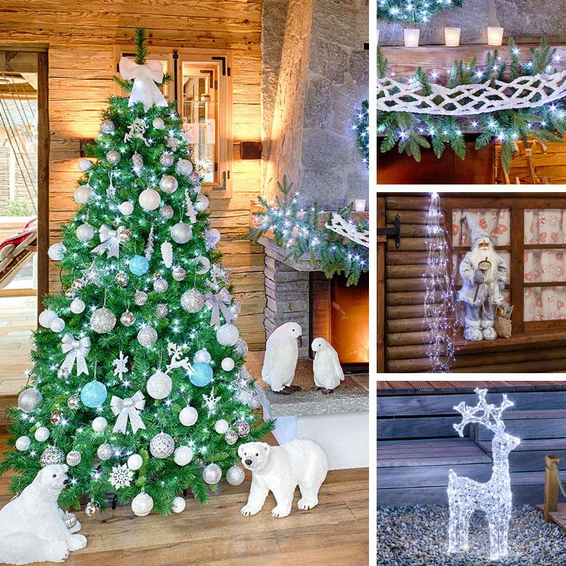 Albero di Natale con palline bianco argento e turchese