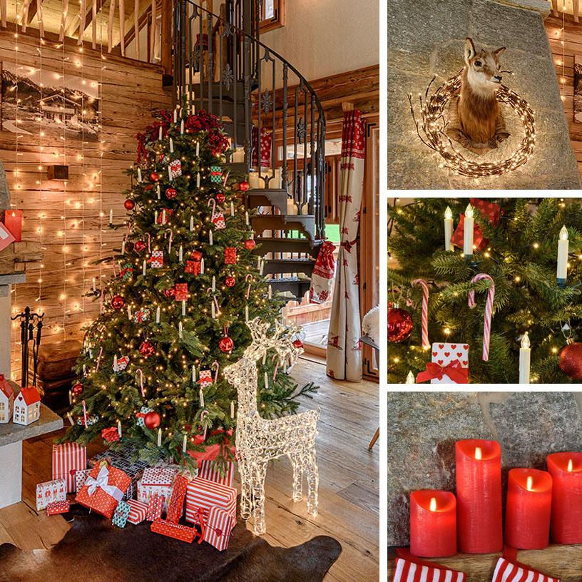 Albero di Natale tradizionale con candeline clip