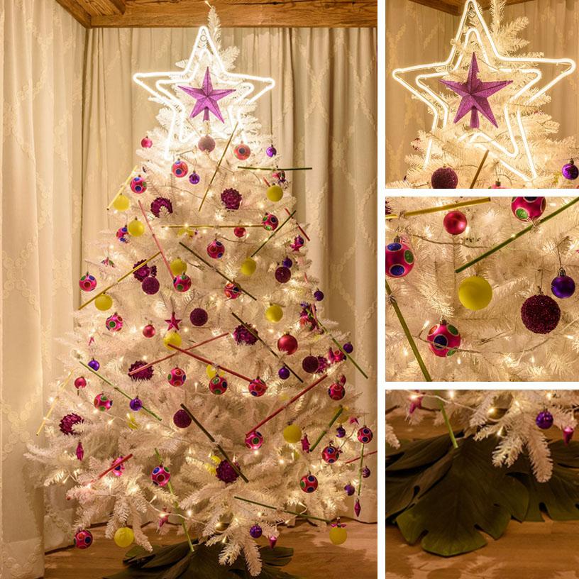Albero di Natale alternativo multicolore giallo e rosa
