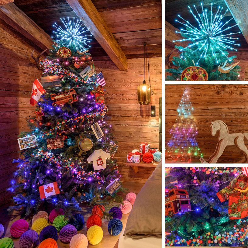 Albero di Natale multicolore tema viaggio