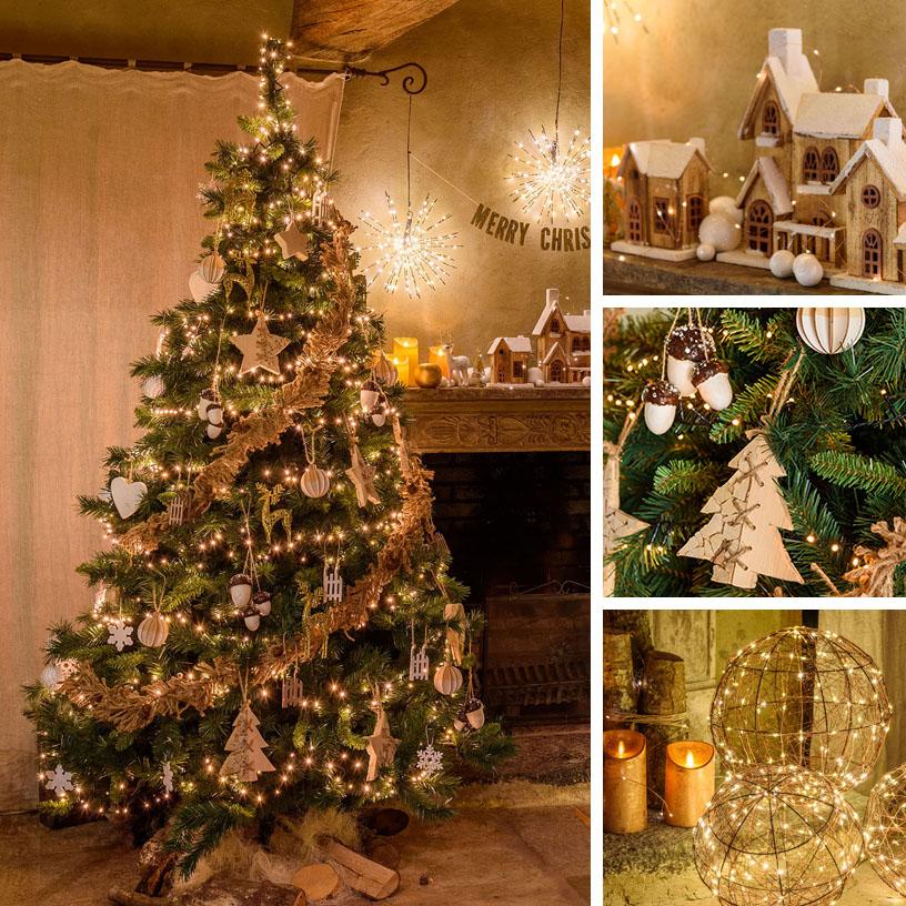 Albero di Natale country con iuta e legno
