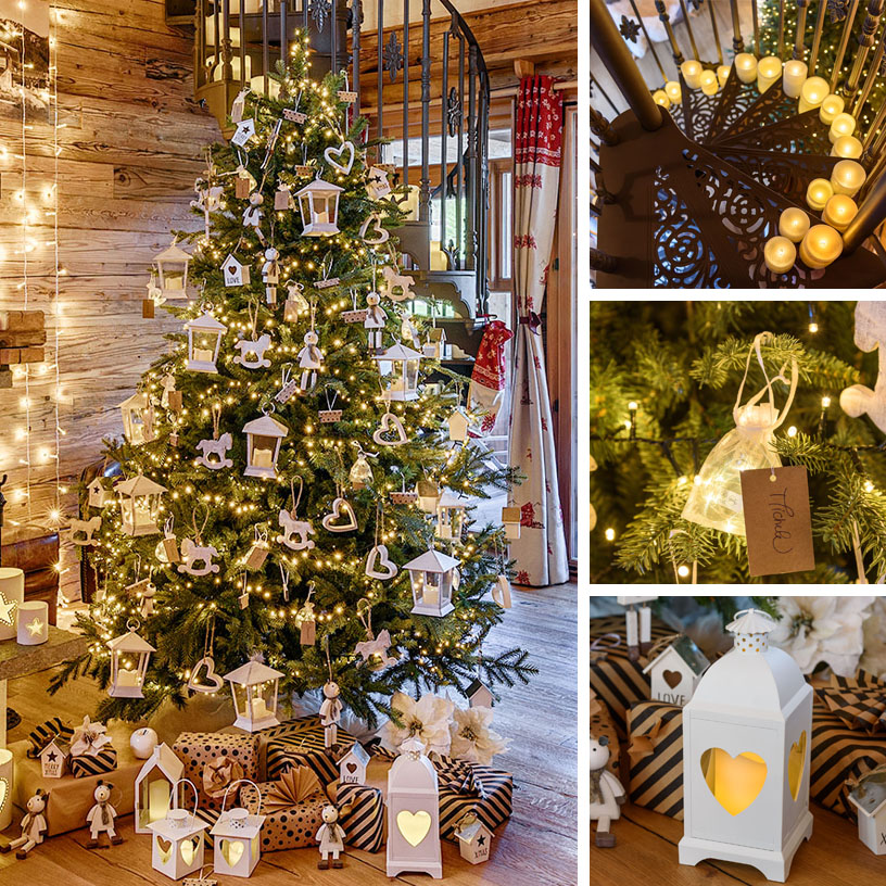 Albero di Natale con addobbi in legno