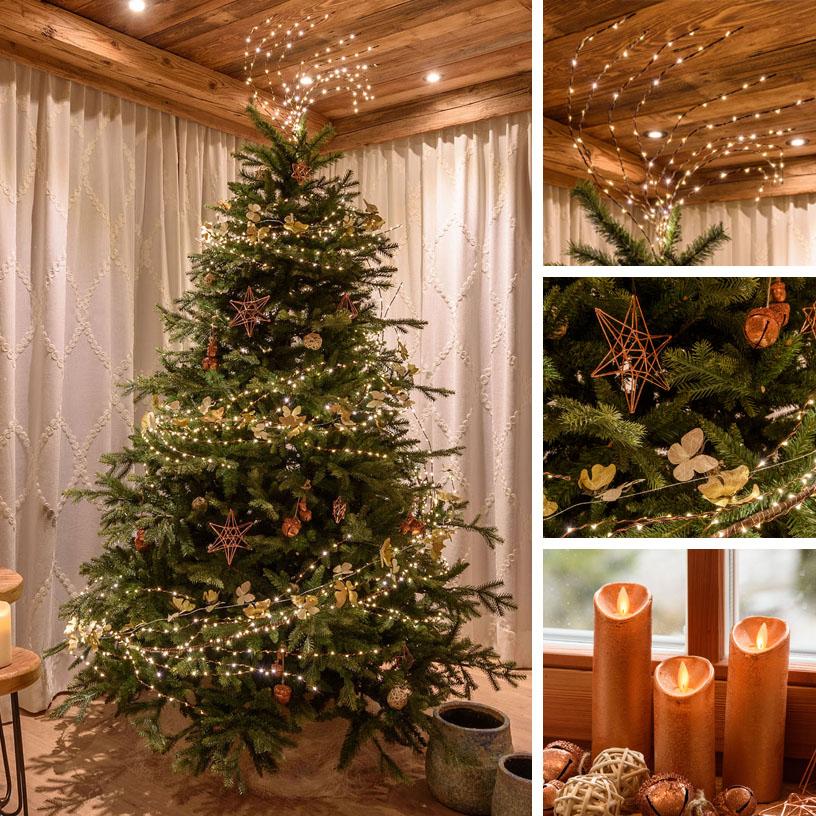 Albero di Natale rustico con materiali naturali e rame