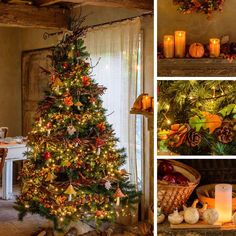 Albero di Natale autunnale con materiali naturali e pigne