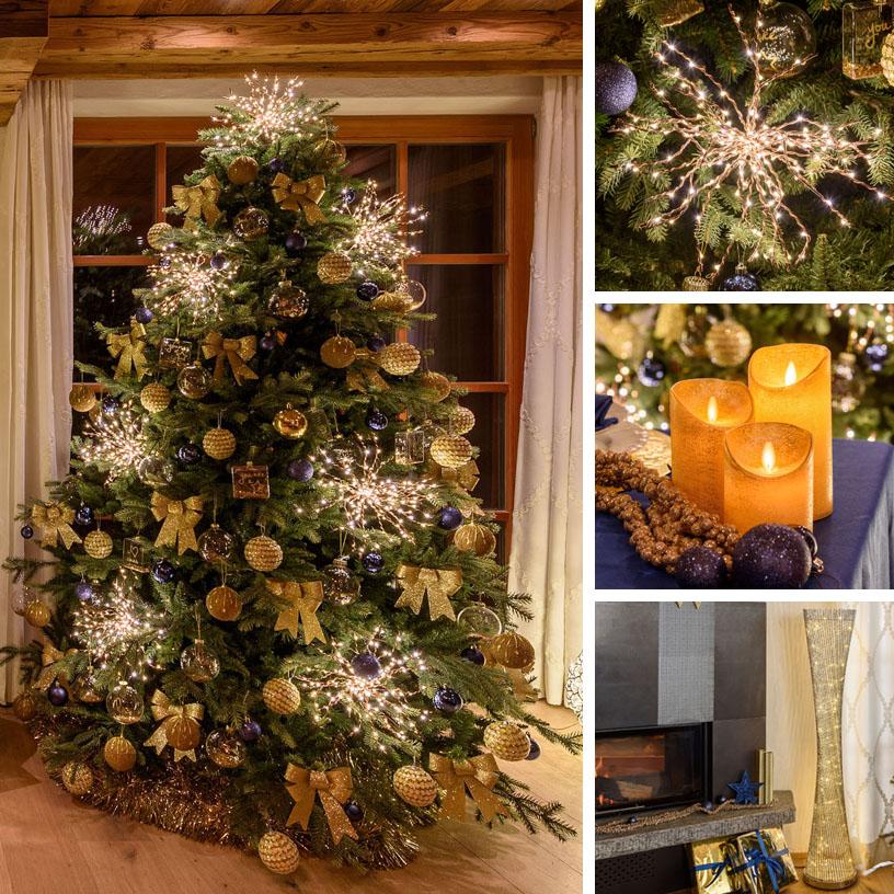 Albero di Natale oro e blu