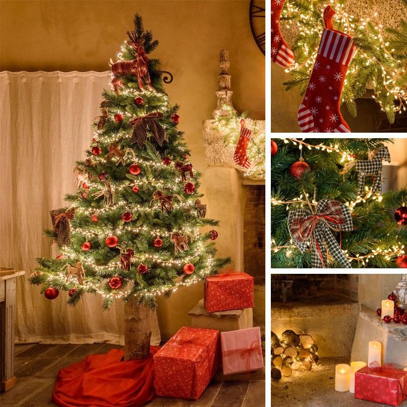 Albero di Natale tradizionale rosso