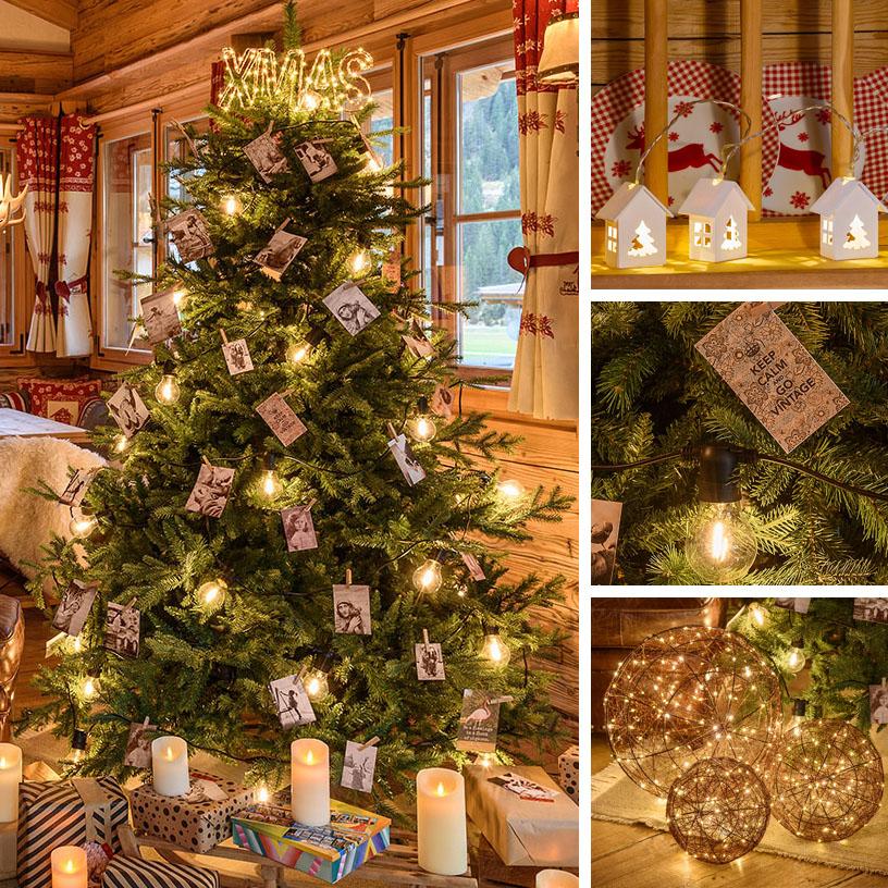 Albero di Natale moderno vintage con lampadine