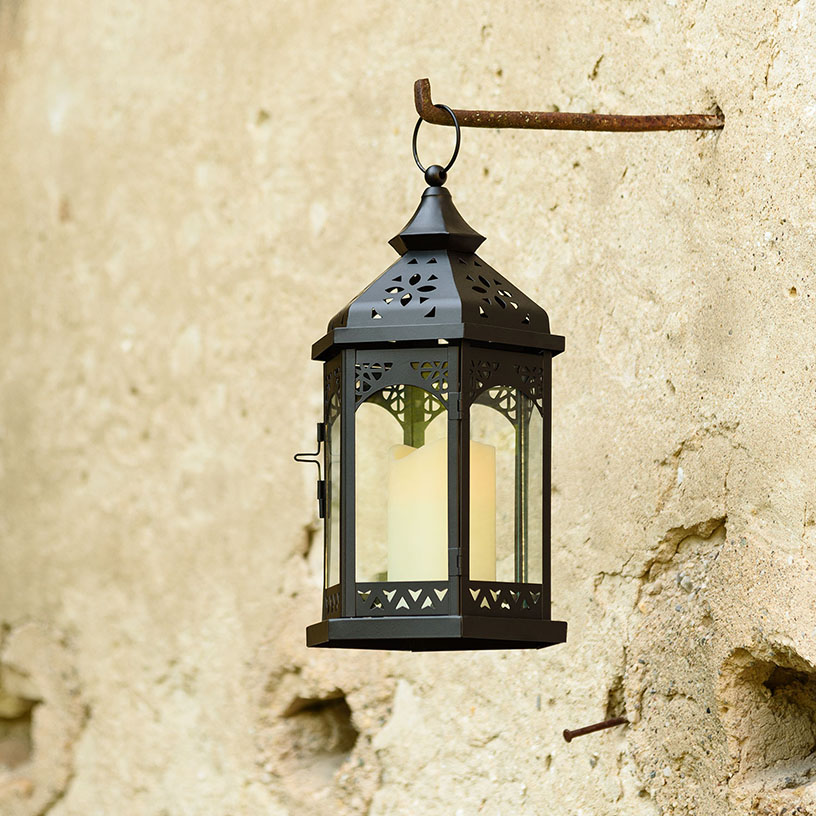 Lanterna orientale nera con candela led