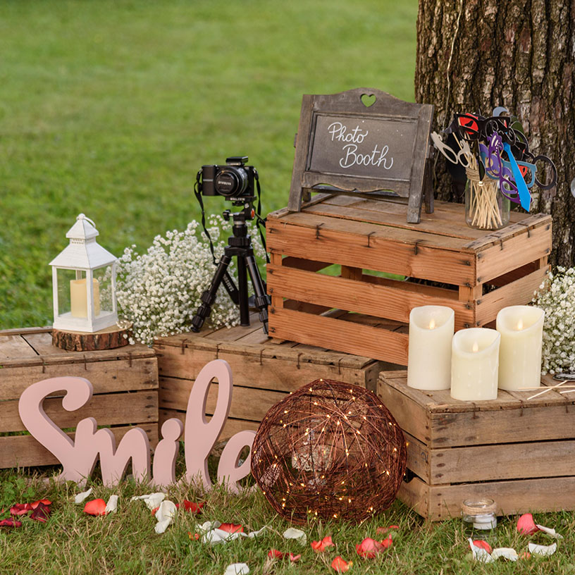 photo booth giardino candele led