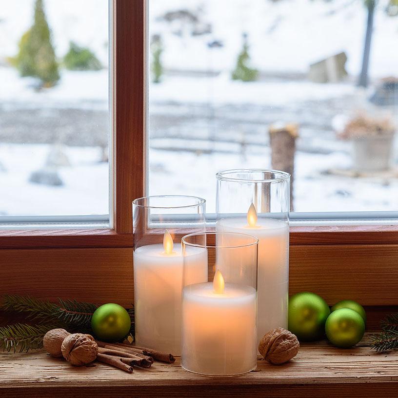 candele led fiamma in vetro