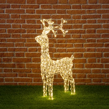 Stehendes Rentier mit Acryl Kristallen, h 90 cm, 200 LEDs warmweiß