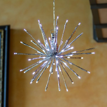 TWIGball argentée, h. 30 cm, 80 LED blanc froid, câble blanc froid