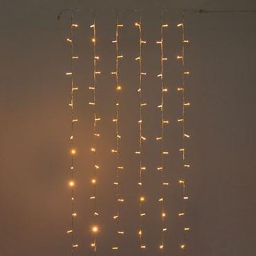 Lichtervorhang 1 x h. 5 m, 240 Maxi LEDs warmweiß, transparentes Kabel, erweiterbar