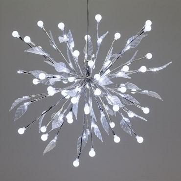 Ramo decorato con sfere e foglie, h. 40 cm, 100 led bianco freddo, cavo trasparente